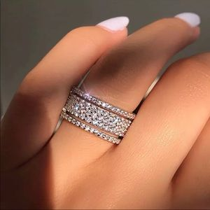 Multi Eternity Sterling Silver Diamond Ring
